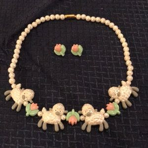 Avon Lamb and Flower Pearl Necklace & Earrings